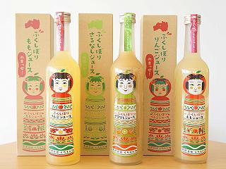 ふくしぼりジュース3本セット(りんご・もも・さるなし)